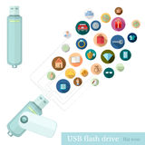 Usb flash drive with icons of different informstion Royalty Free Stock Images