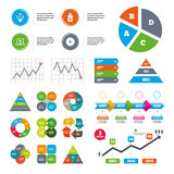 Usb flash drive icons. Notebook or Laptop pc. Royalty Free Stock Images
