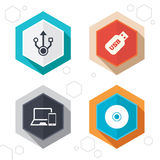 Usb flash drive icons. Notebook or Laptop pc Stock Photos