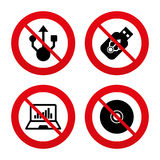 Usb flash drive icons. Notebook or Laptop pc Stock Image