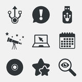 Usb flash drive icons. Notebook or Laptop pc. Royalty Free Stock Image