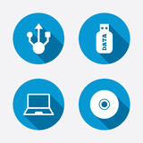 Usb flash drive icons. Notebook or Laptop pc Royalty Free Stock Photography
