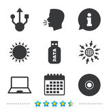 Usb flash drive icons. Notebook or Laptop pc. Stock Image