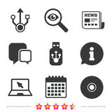 Usb flash drive icons. Notebook or Laptop pc. Royalty Free Stock Photos