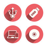 Usb flash drive icons. Notebook or Laptop pc Royalty Free Stock Images