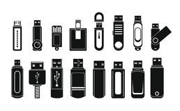 USB flash drive icons set, simple style. USB flash drive icons set. Simple illustration of 16 USB flash drive vector icons for web Royalty Free Stock Image