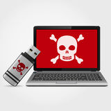USB flash drive with laptop infected malware Royalty Free Stock Image