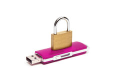 USB flash drive with a lock Stock Photos