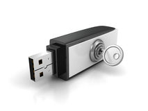 Usb flash drive with lock key on white background Stock Image