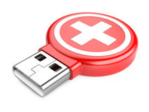 Usb flash drive and medical kit sign. Isolated on white background. 3d image Royalty Free Stock Images