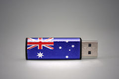 Usb flash drive with the national flag of australia on gray background. Royalty Free Stock Image