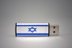 Usb flash drive with the national flag of israel on gray background. Royalty Free Stock Image