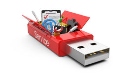 USB Flash drive with office tools and money Royalty Free Stock Photography