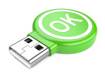 USB Flash Drive with OK sign. 3d image Stock Photos