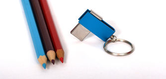 USB Flash Drive and pencils Stock Image