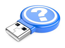 USB Flash Drive with question sign. 3d image Stock Photo