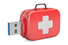 USB flash drive service, recovery and first aid concept. 3D. Rendering on white background Stock Photography