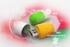 Usb flash drive in tablet shape Royalty Free Stock Photos
