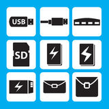 USB flash drive, USB cable, hub, memory stick, Power bank, Battery icon Stock Photos
