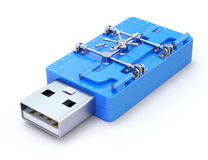 USB Flash Drive with the vault. USB Flash Drive with blue vault - 3D concept Royalty Free Stock Image