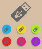 USB Flash drive vector icon with color variations.  Stock Image