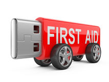 USB flash drive on Wheels - first aid concept Royalty Free Stock Photo