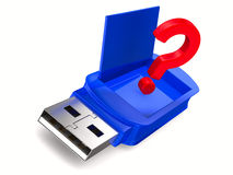 Usb flash drive on white background. 3D image Stock Image