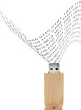USB Flash Drive wood design and Binary-coded decimal Stock Photography