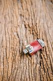 Usb flash drive on wooden texture background Royalty Free Stock Images