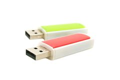 USB flash drives. Red and green USB flash drives (shallow depth of field Stock Photography