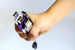 Usb flash drives. In a hand Stock Photo