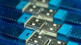 Usb flash drives in blue and gold stock video