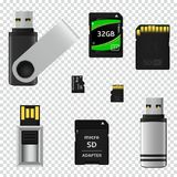 USB flash drives and memory cards isolated on transparent background Royalty Free Illustration