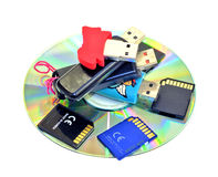 USB Flash Drives, SD Cards, CDROM Royalty Free Stock Photos