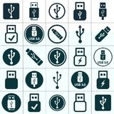 Usb flash 3.0 icon set transparent. Usb, flash drive icons set on white background Royalty Free Stock Photo