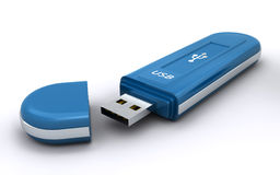 Usb flash memory. Blue usb flash memory on the white background (3d render Royalty Free Stock Images