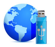 Usb flash memory and the globe Royalty Free Stock Image