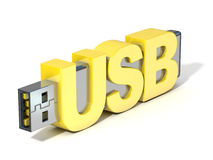 USB flash memory, made with the word USB. 3D render. Illustration isolated on white background stock illustration