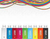 USB flash memory multicolor Royalty Free Stock Photography