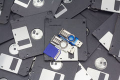 Usb flash memory, SD card and floppy disk Stock Photography
