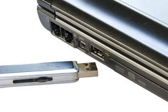 Usb flash and notebook Royalty Free Stock Images