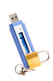 USB flash pendrive with padlock. USB flash pendrive with SECURED text on display with padlock (data security concept Stock Photos