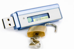 USB flash pendrive. With SECURED text on display with padlock (data security concept Royalty Free Stock Image