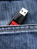 Usb flash in pocket Stock Photos