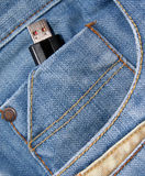 Usb flash in pocket Royalty Free Stock Photo