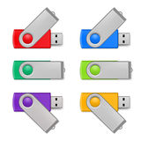 Usb flash set. Set of color USB flash drive  on white background Stock Image