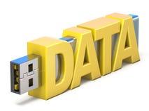 USB-Flash-Speicher-Stock mit Wort DATEN 3D Lizenzfreies Stockfoto