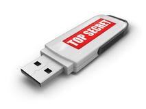 USB-Flash-Speicher streng geheim (Beschneidungspfad eingeschlossen) Stockfotografie