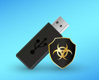 Usb flashdrive with a protection shield antivirus computer. A usb flashdrive with a protection shield antivirus computer Royalty Free Stock Photo