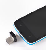 USB flashes drive 3.0 and mobile phone Royalty Free Stock Images